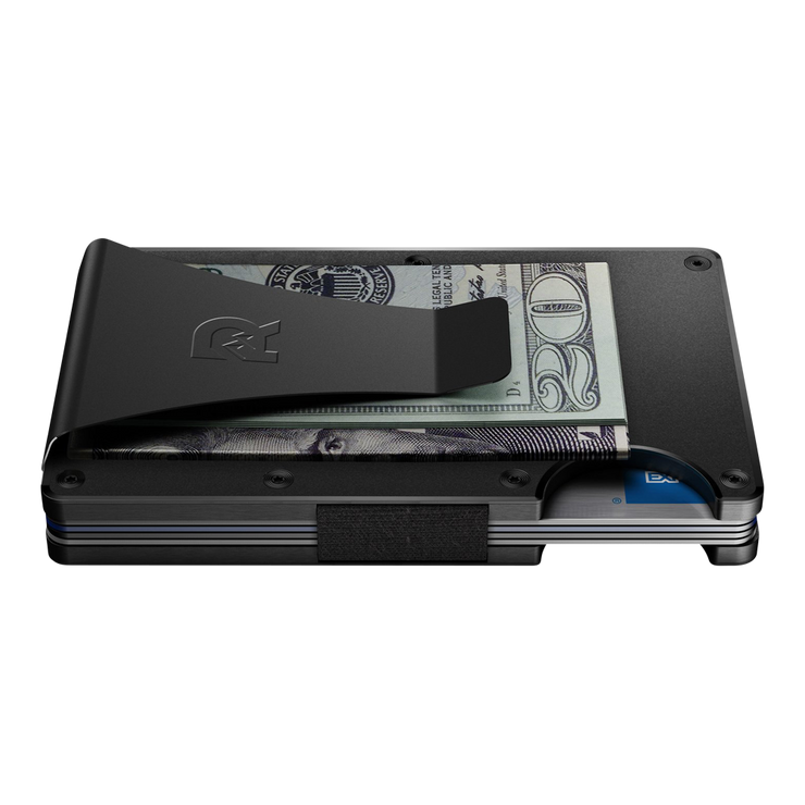 The Ridge Titanium Money Clip Wallet (Black) - Side View