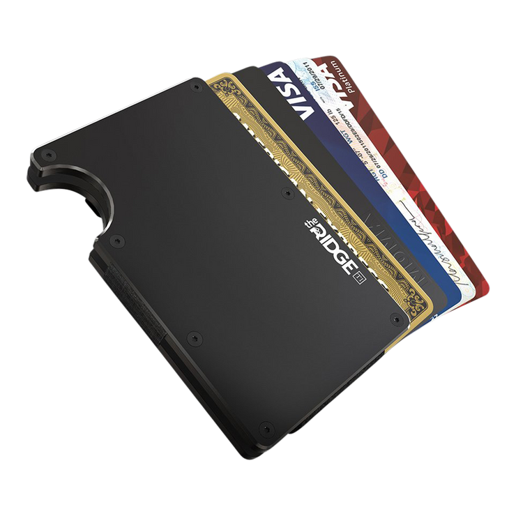 The Ridge Titanium Money Clip Wallet (Black) - Cards Fanned