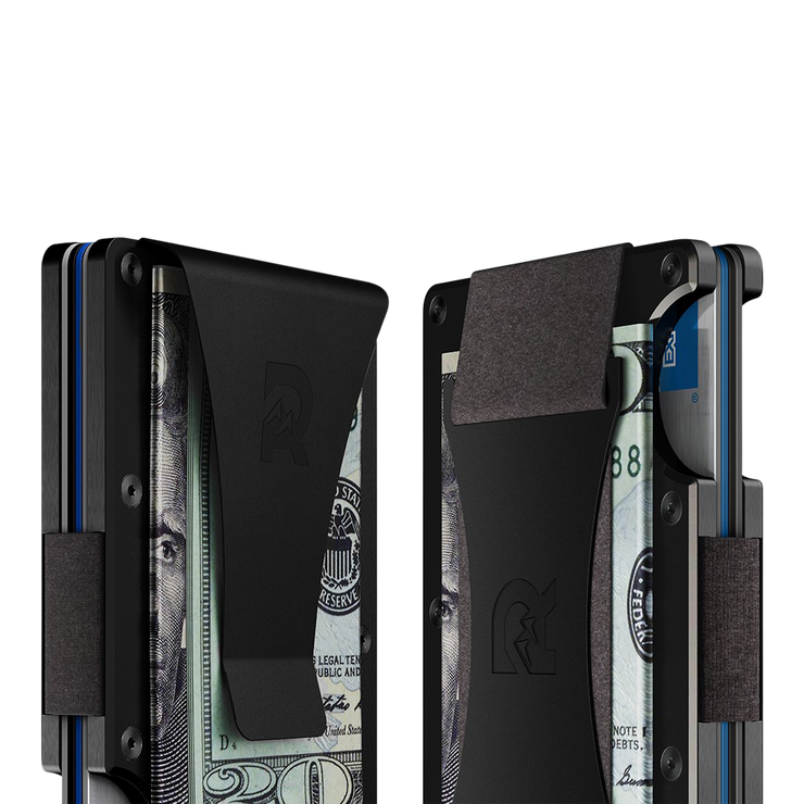 The Ridge Titanium Money Clip Wallet (Black) - Cash Strap & Money Clip