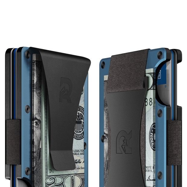 The Ridge Titanium Cash Strap Wallet (Matte Cobalt) - Cash Strap & Money Clip