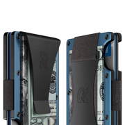 The Ridge Titanium Money Clip Wallet (Matte Cobalt) - Cash Strap & Money Clip