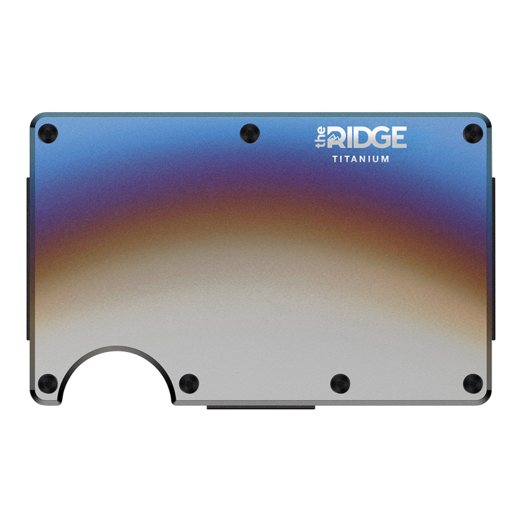 The Ridge Titanium Money Clip Wallet (Burnt) - Front View