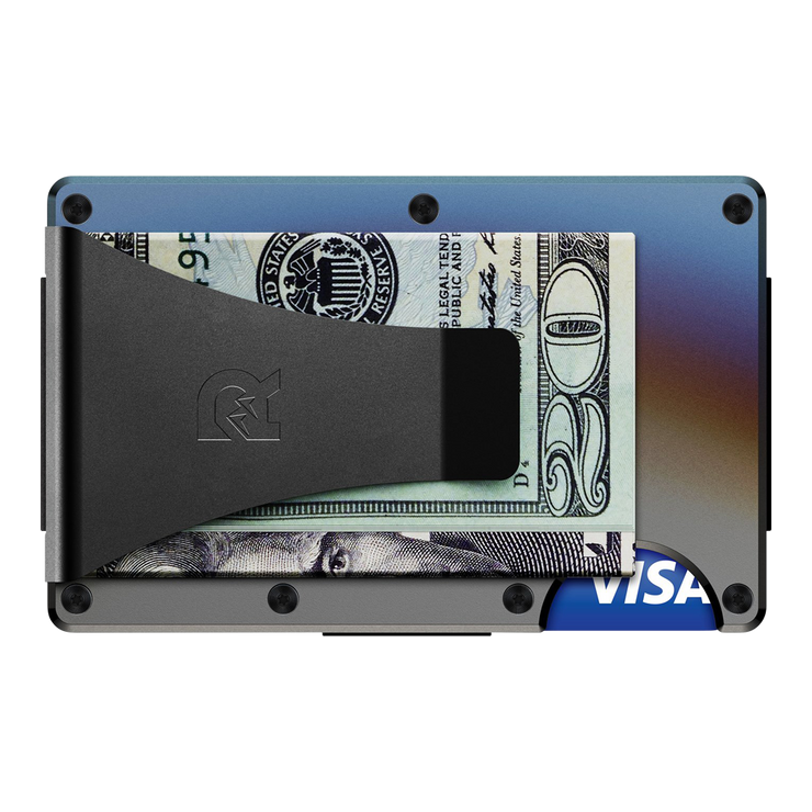 The Ridge Titanium Cash Strap & Money Clip Wallet (Burnt) - Money Clip Back View