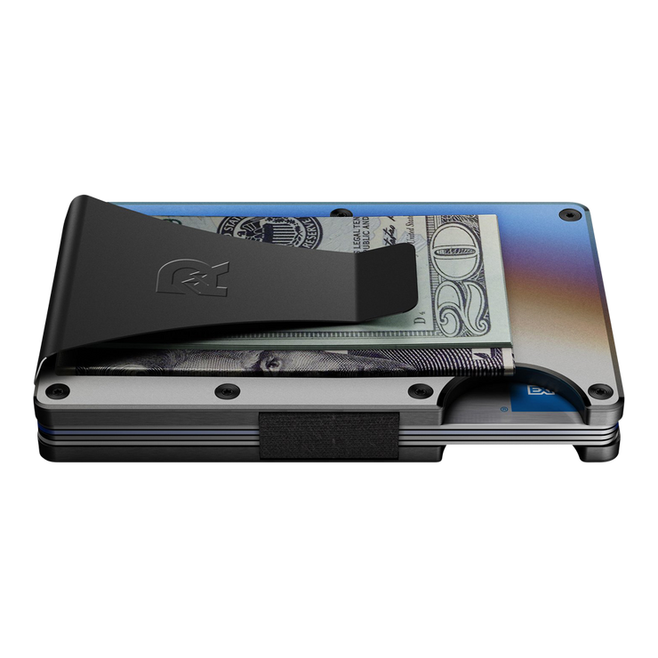 The Ridge Titanium Cash Strap & Money Clip Wallet (Burnt) - Money Clip Side View