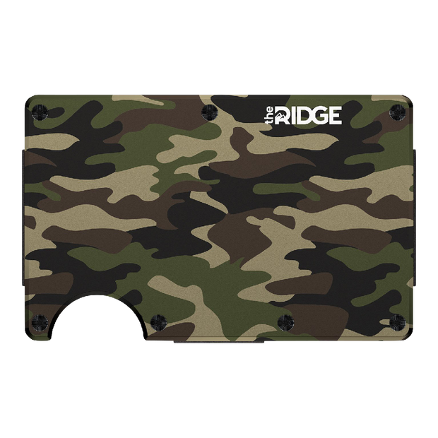 The Ridge Aluminium Money Clip Wallet (Woodland Camo) - Front View