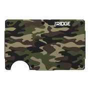 The Ridge Aluminium Cash Strap Wallet (Woodland Camo) - Front View