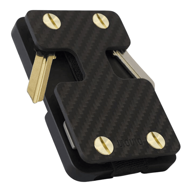 Liquid Carry Carbon Fibre Wallet (Gold Screws) - Front View