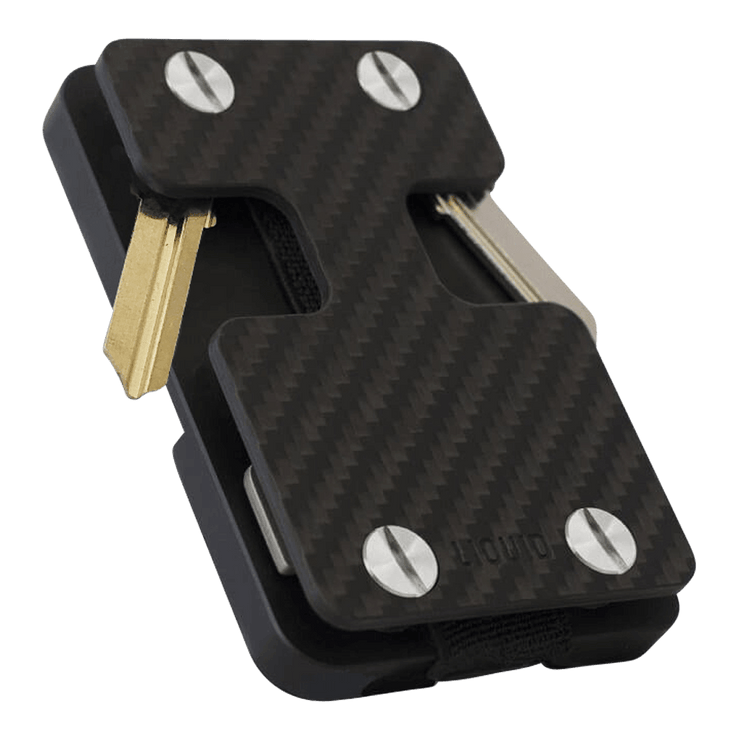 Liquid Carry Carbon Fibre Wallet (Silver Screws) - Front View