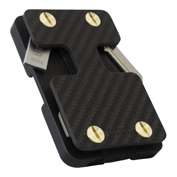 Liquid Carry Carbon Fibre Wallet (Gold Screws) - Bottle Opener & USB Stick