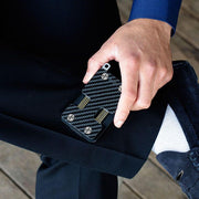 Liquid Carry Carbon Fibre Wallet (Silver Screws) - In Use