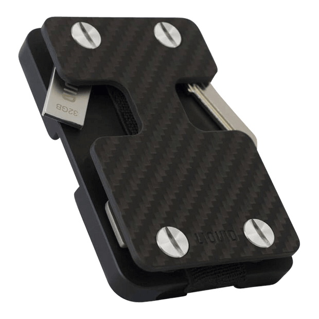 Liquid Carry Carbon Fibre Wallet (Silver Screws) - Bottle Opener & USB Stick