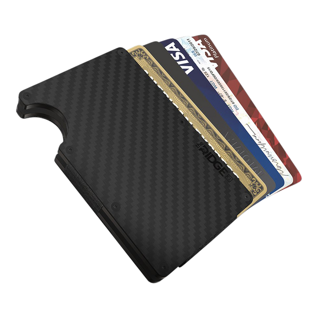 The Ridge Carbon Fibre 3K Cash Strap & Money Clip Wallet   - Cards Fanned