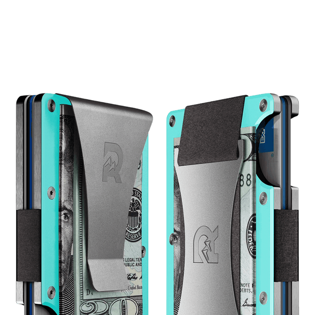 The Ridge Aluminium Money Clip Wallet (Celeste) - Cash Strap & Money Clip
