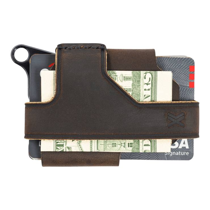 Trayvax Contour Wallet (Black Metal/Mississippi Mud Leather) - Back View