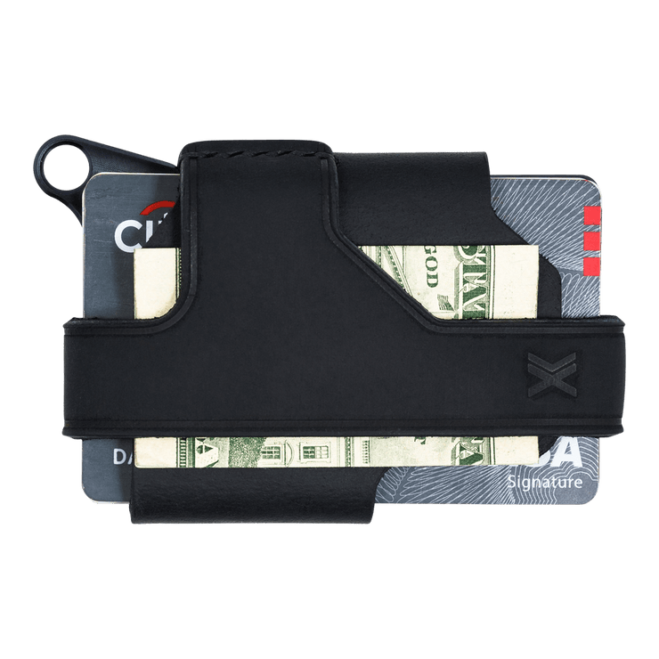 Trayvax Contour Wallet (Black Metal/Stealth Black Leather) - Back View