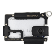 Trayvax Contour Wallet (Raw Metal/Stealth Black Leather) - Front View