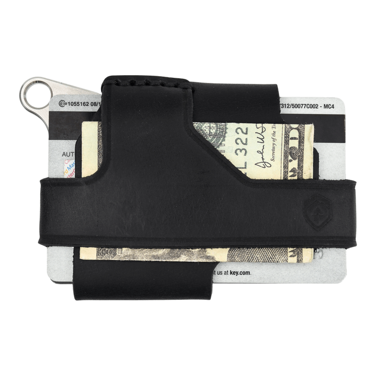 Trayvax Contour Wallet (Raw Metal/Stealth Black Leather) - Back View