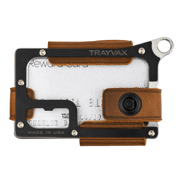 Trayvax Contour Wallet (Raw Metal/Tobacco Brown Leather) - Front View