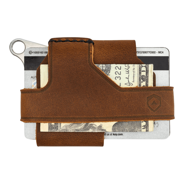 Trayvax Contour Wallet (Raw Metal/Tobacco Brown Leather) - Back View