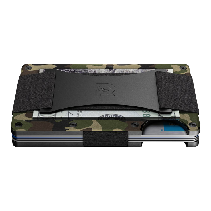 The Ridge Aluminium Cash Strap Wallet (Woodland Camo) - Side View