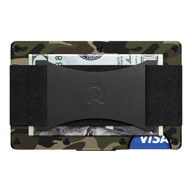 The Ridge Aluminium Cash Strap Wallet (Woodland Camo) - Back View