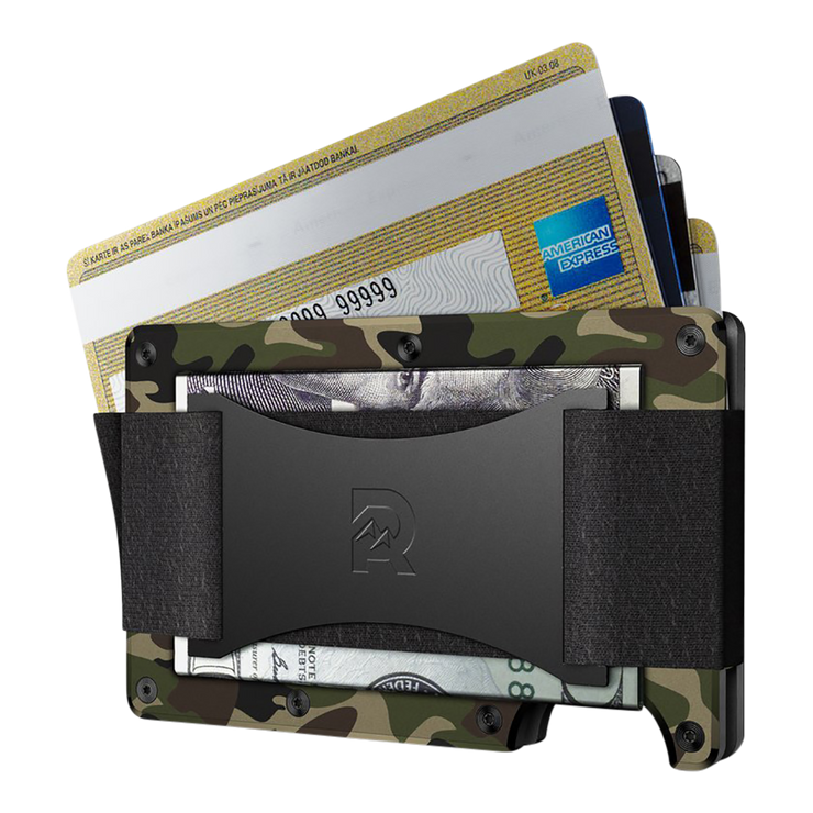 The Ridge Aluminium Cash Strap Wallet (Woodland Camo) - Cash Strap