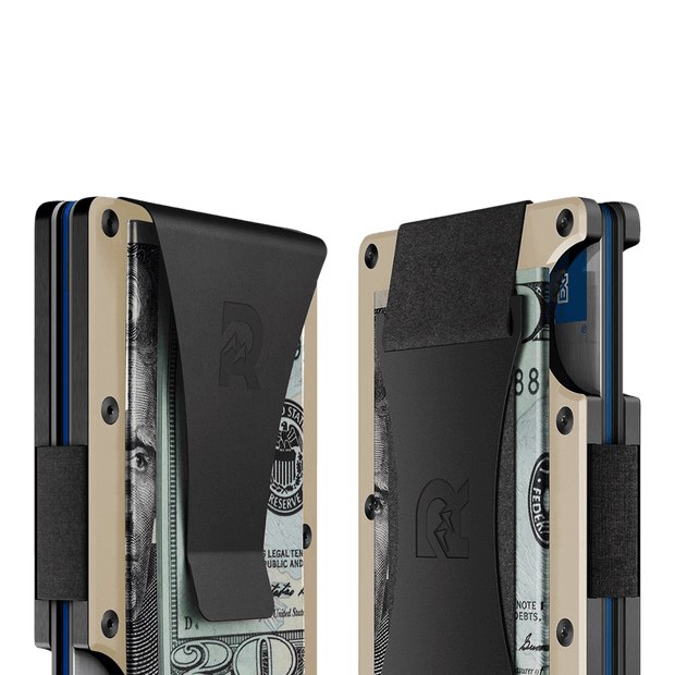 The Ridge Aluminium Money Clip Wallet (Desert Tan) - Cash Strap & Money Clip