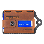 Trayvax Element Wallet (Black Metal/Tobacco Brown Leather) - Front View