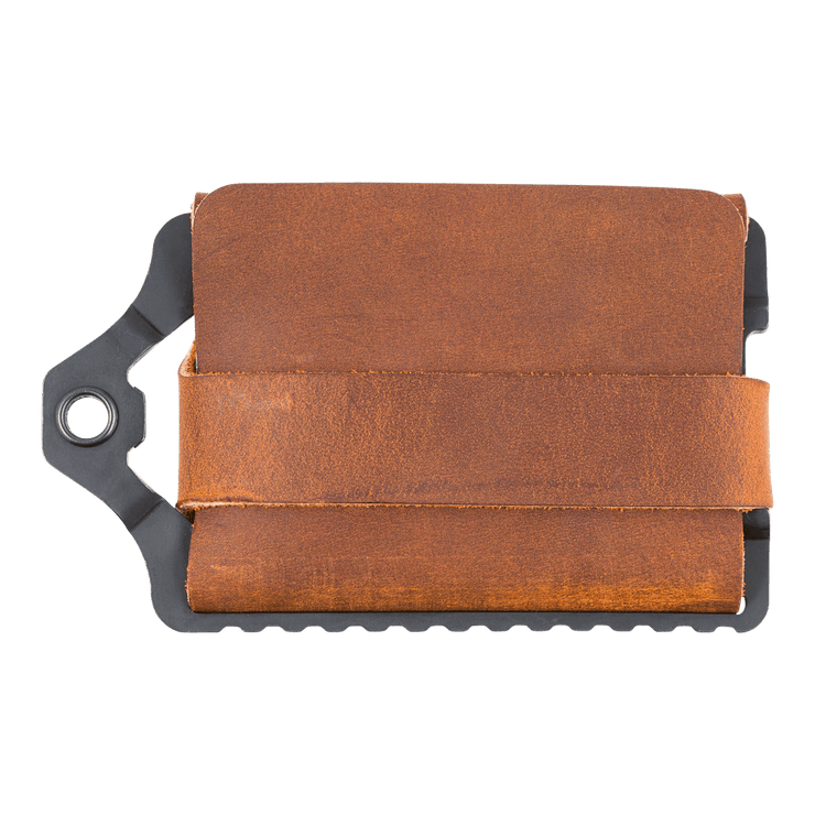 Trayvax Element Wallet (Black Metal/Tobacco Brown Leather) - Back View