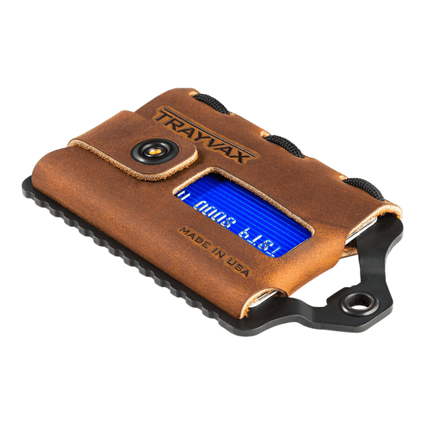 Trayvax Element Wallet (Black Metal/Tobacco Brown Leather) - Angled View