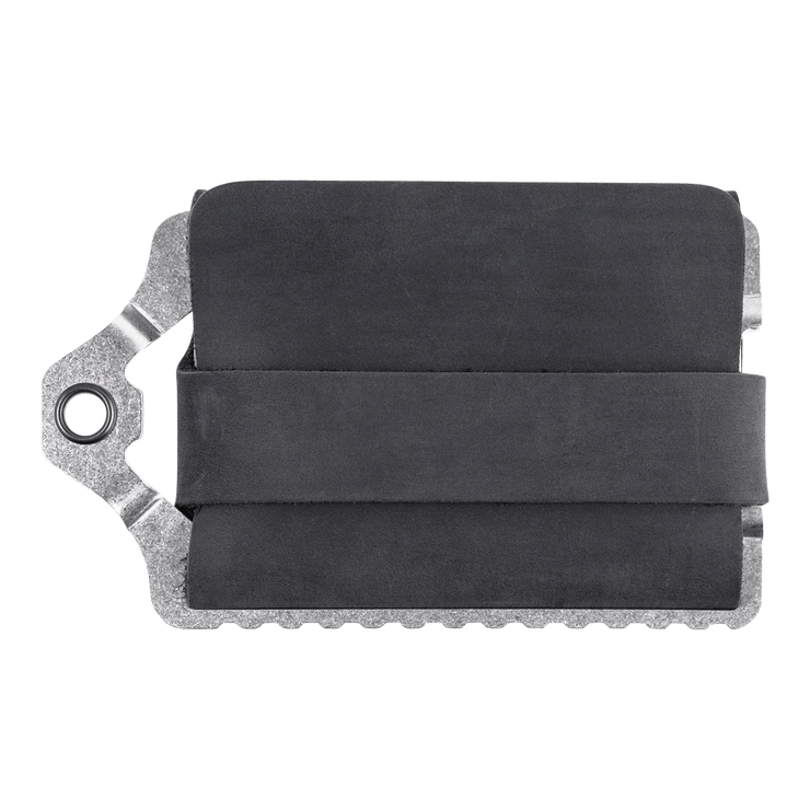 Trayvax Element Wallet (Raw Metal/Stealth Black Leather) - Back View