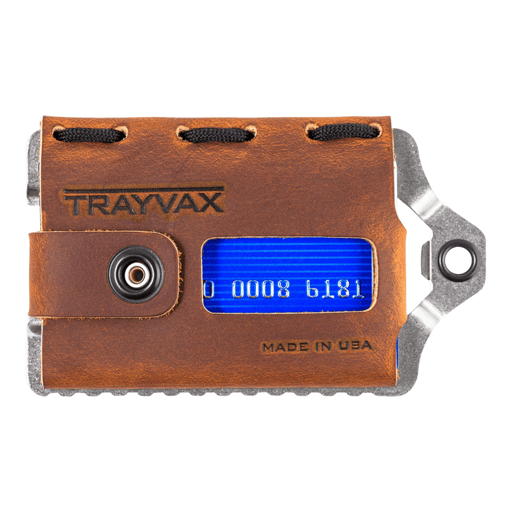 Trayvax Element Wallet (Raw Metal/Tobacco Brown Leather) - Front View