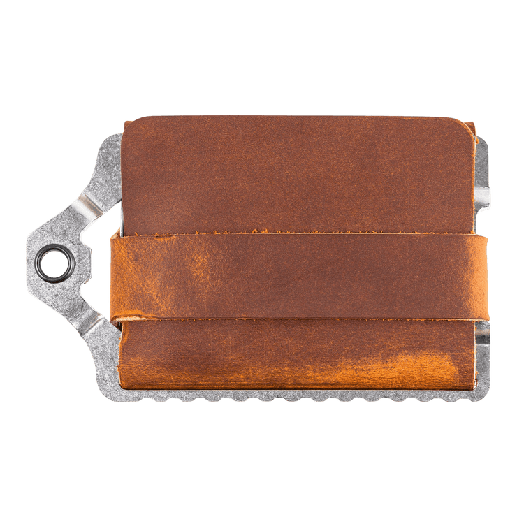 Trayvax Element Wallet (Raw Metal/Tobacco Brown Leather) - Back View
