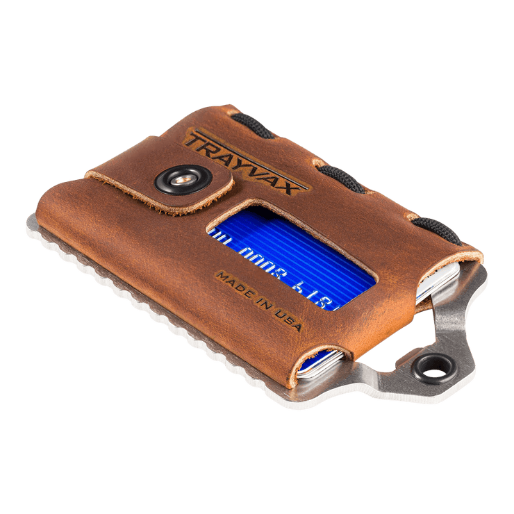 Trayvax Element Wallet (Raw Metal/Tobacco Brown Leather) - Angled View