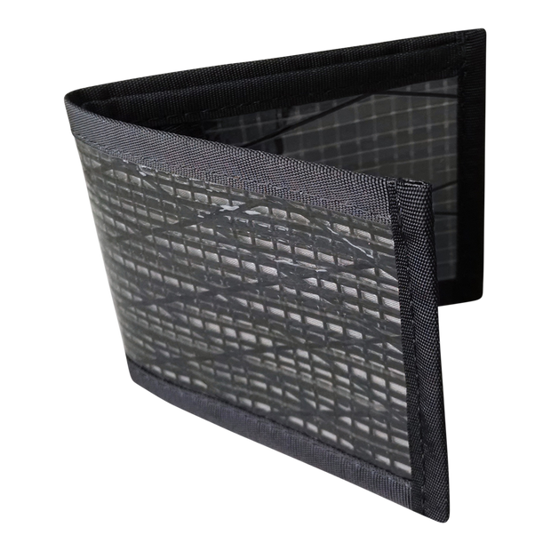 Flowfold Recycled Sailcloth Vanguard Billfold Wallet (Black Pearl) - Open View