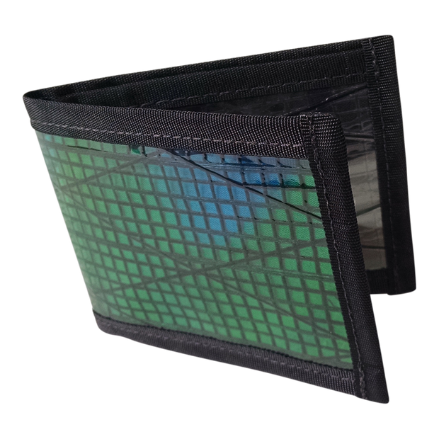 Flowfold Recycled Sailcloth Vanguard Billfold Wallet (Green) - Open View