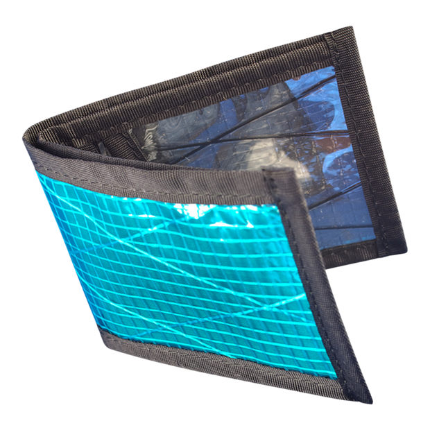 Flowfold Recycled Sailcloth Vanguard Billfold Wallet (Cyan) - Open View