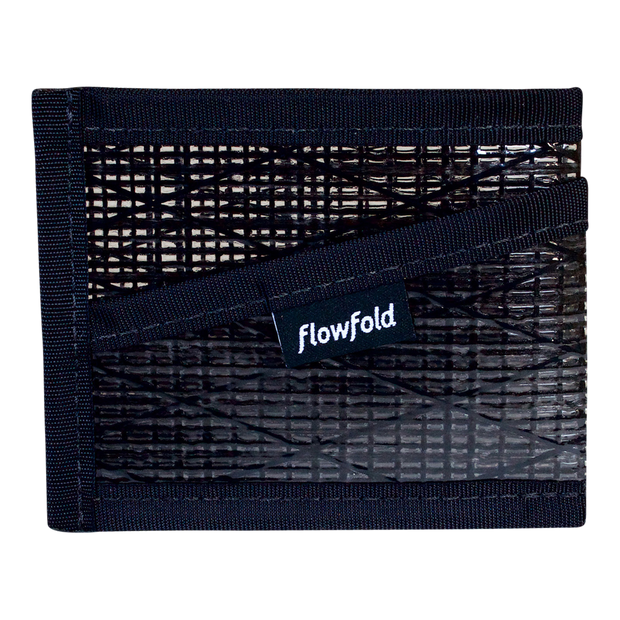 Flowfold Recycled Sailcloth Craftsman Three Pocket Wallet (Black Pearl) - Front View