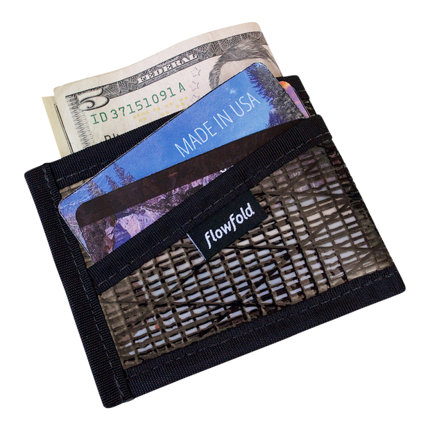 Flowfold Recycled Sailcloth Craftsman Three Pocket Wallet (Black Pearl) - Cash & Card