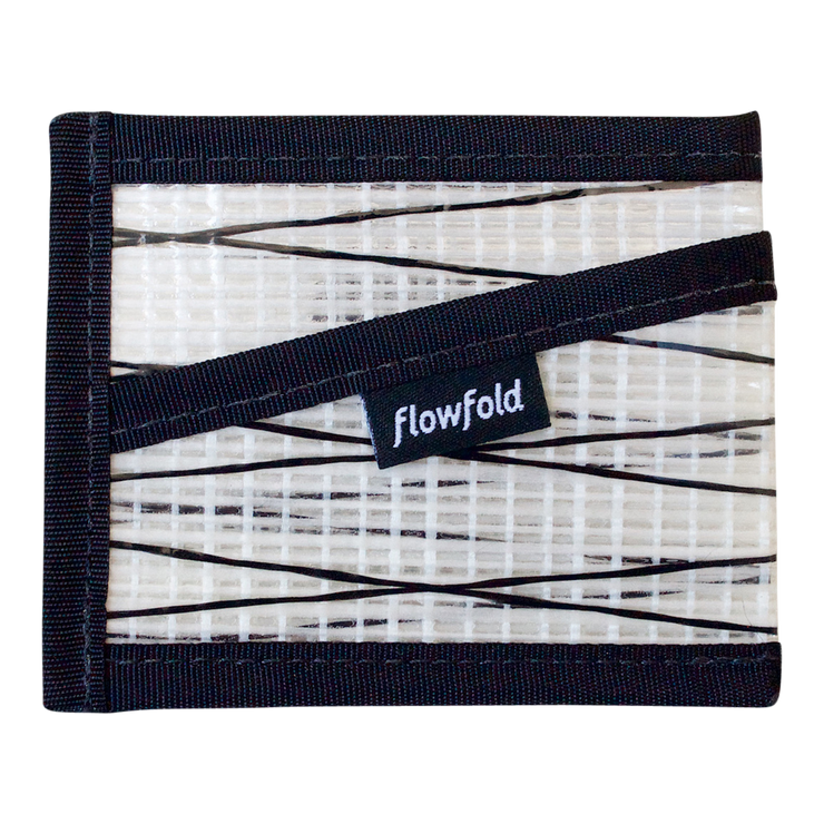 Flowfold Recycled Sailcloth Craftsman Three Pocket Wallet (White) - Front View