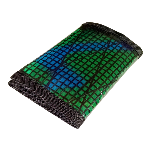 Flowfold Recycled Sailcloth Traveler Trifold Wallet (Green) - Closed View