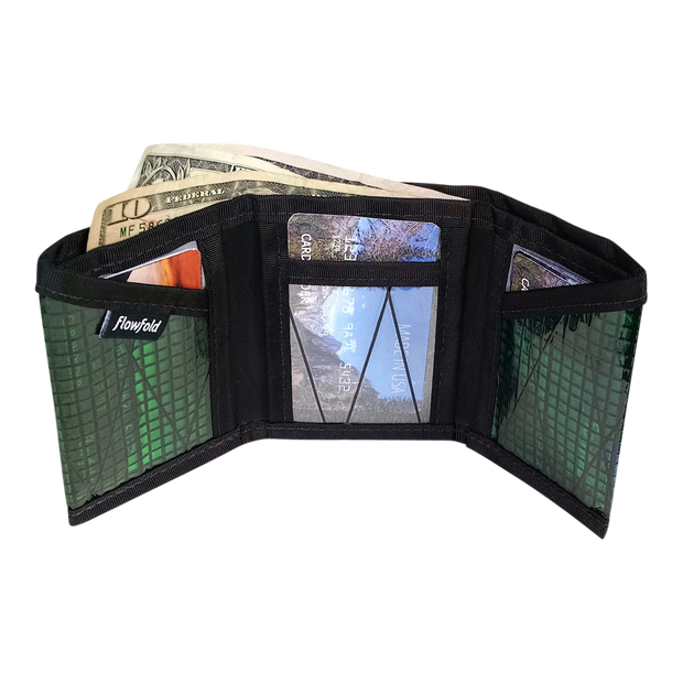 Flowfold Recycled Sailcloth Traveler Trifold Wallet (Green) - Open View