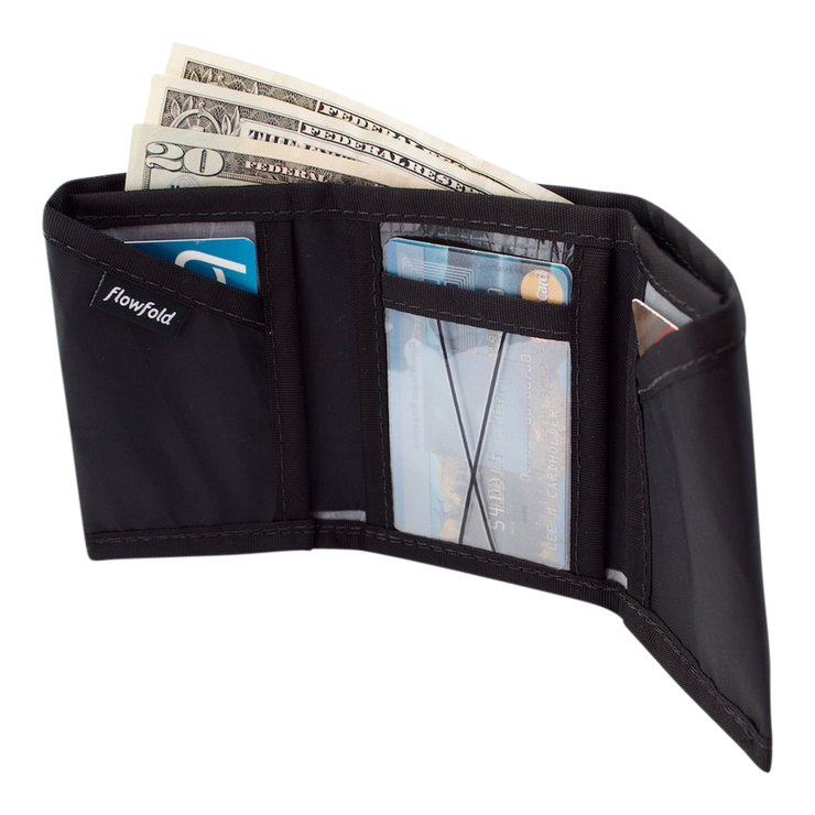 Flowfold Traveler Limited Trifold Wallet (Jet Black) - Open View