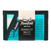Flowfold Recycled Sailcloth Minimalist Wallet (Cyan) - Packaging