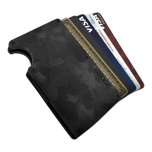 The Ridge Forged Carbon Cash Strap & Money Clip Wallet - Cards Fanned