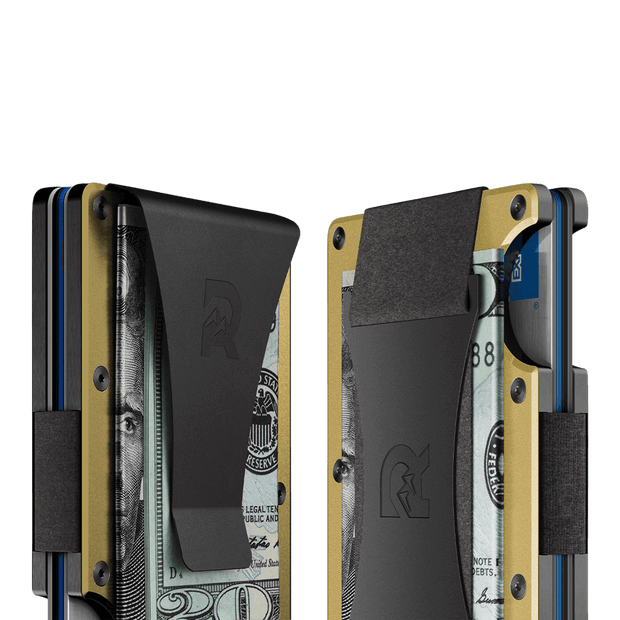 The Ridge Aluminium Money Clip Wallet (Gold) - Cash Strap & Money Clip