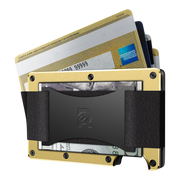 The Ridge Aluminium Cash Strap Wallet (Gold) - Cards Fanned