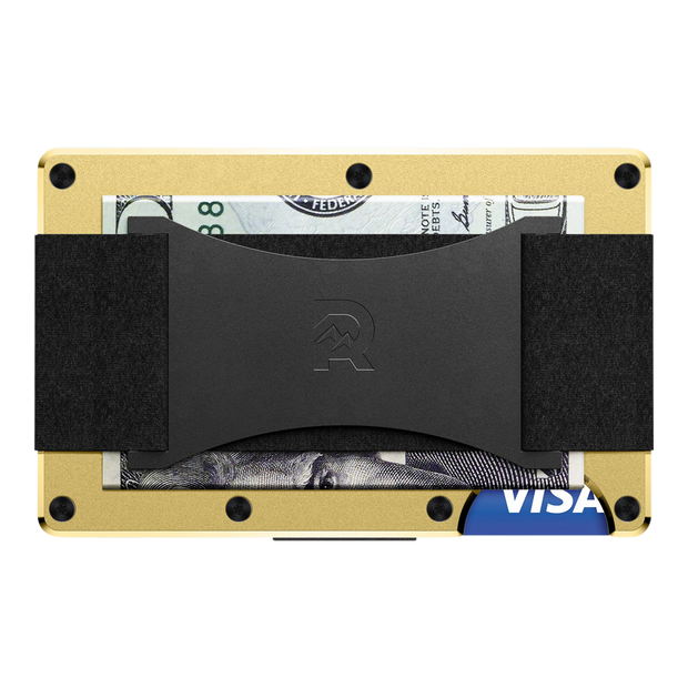 The Ridge Aluminium Cash Strap Wallet (Gold) - Back View