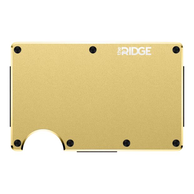 The Ridge Aluminium Cash Strap Wallet (Gold) - Front View