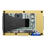 The Ridge Aluminium Money Clip Wallet (Gold) - Back View